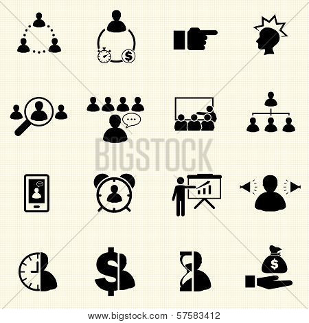Business and Finance Icons with texture background. Vector