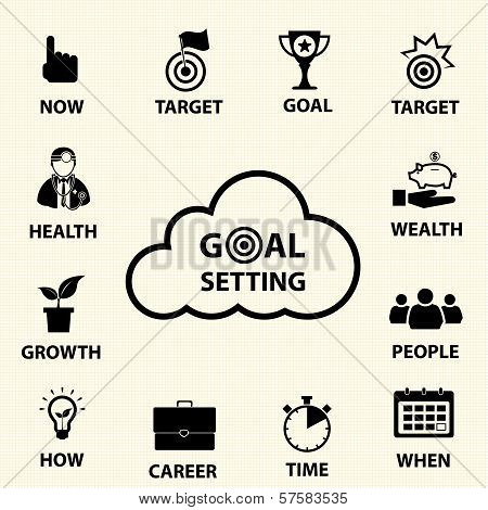 Smart goal setting concept. Vector icons set.