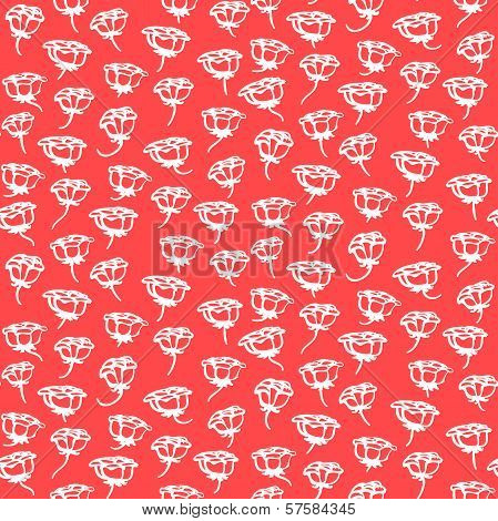 Floral pattern with small white roses on coral red