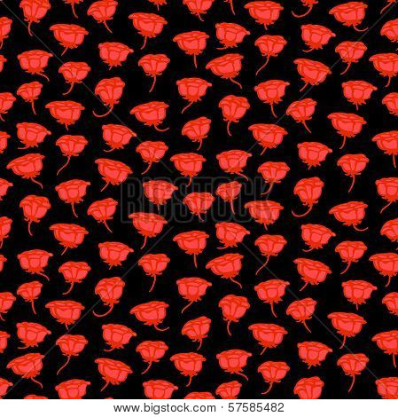 Grunge floral pattern with hand drawn roses in red