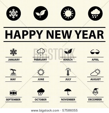 Happy new year with weather icons, Vector illustration