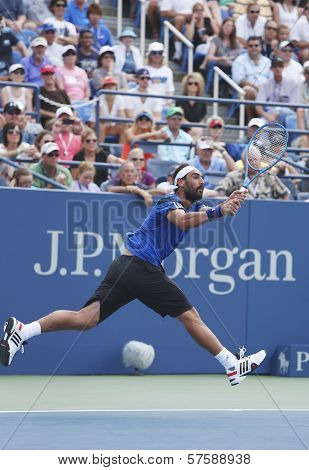 Professional tennis player Marcos Baghdatis during third round match at US Open 2013