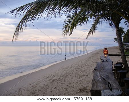 Beach Bar With Palm Tree At Sunset