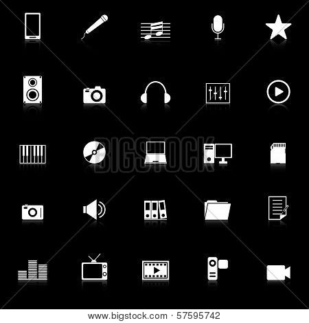Media Icons With Reflect On Black Background