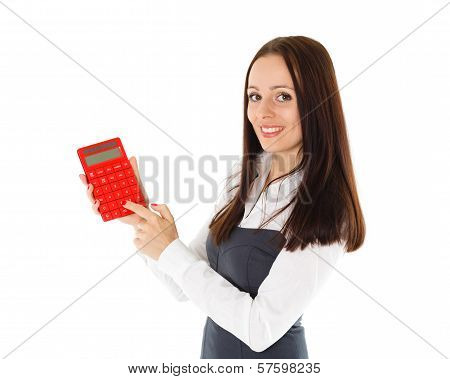 Young Business Woman With Calculator.