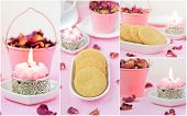 image of shortbread  - Delicate pink collage with shortbread - JPG