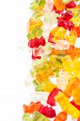 stock photo of jelly babies sugar  - Heap of Gummi Bears isolated on white background - JPG