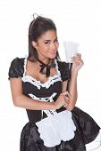 Sensual Woman In Skimpy Maids Uniform
