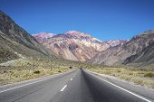 picture of aconcagua  - National Road 7 passing by the Department of Lujan de Cuyo in Mendoza Argentina - JPG