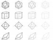 picture of octahedron  - 3d vector geometry figures - JPG