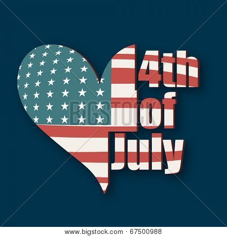 Beautiful heart shape covered by national flag on blue background for 4th of July, American Independence Day celebrations.