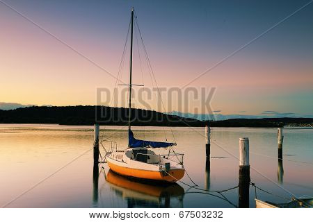 Little Sailing Boat At Woy Woy At Sunrise