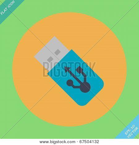 USB Flash drive icon - vector illustration.