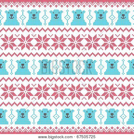 Winter, Christmas red and bear seamless pixelated pattern with polar bears