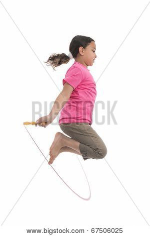 Active Girl Jumping With Skipping Rope