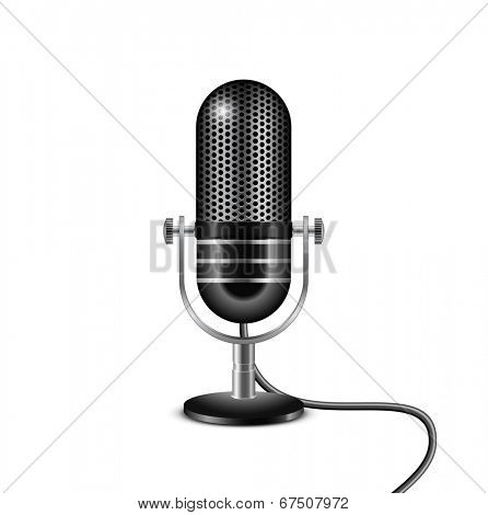 Retro microphone with wire. Vector illustration