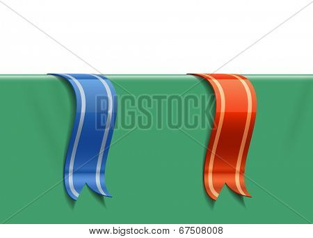 Decoration ribbons with shadows and reflections. Vector illustration