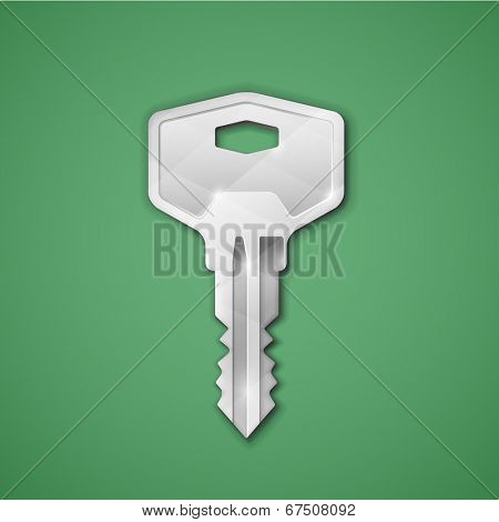 Highly detailed vector key icon. Steel key on green background. Vector icon for cryptographic application