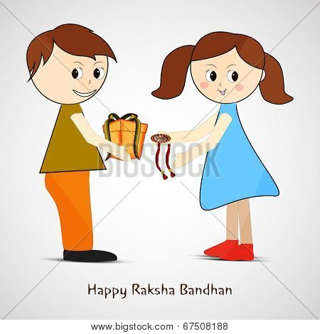 Cute little girl tying rakhi on her brother wrist and accepting gift on occasion of Raksha Bandhan festival.