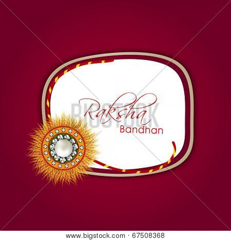 Beautiful rakhi with stylish text Rakhsha Bandhan on maroon background for the occasion of Happy Raksha Bandhan.