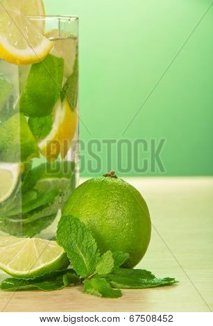 Mojito cocktail, lemon and spearmint