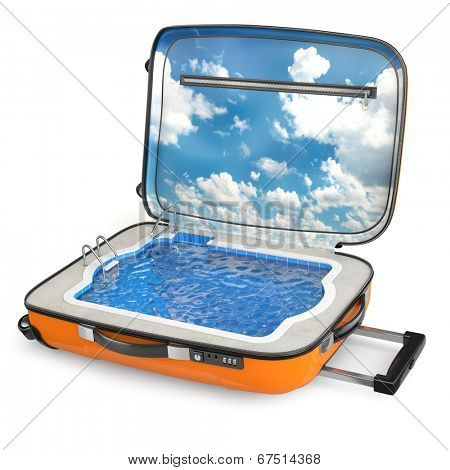 Rest. Swimming pool in the luggage on white isolated background. 3d