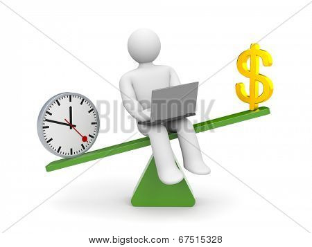 White character between time and money. Time outweighs