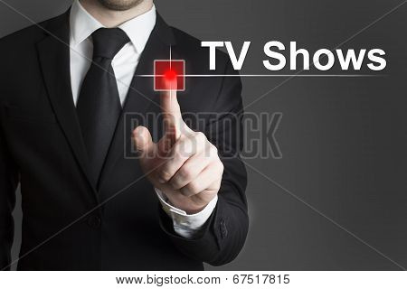 Businessman Pushing Record Button Tv Shows