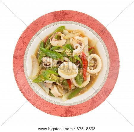 Thai Food - Stir Fried Chili Pepper With Squid