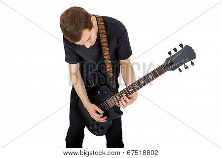 Young Man With Electric Guitar Isolated On White Background. Performer Of Rock