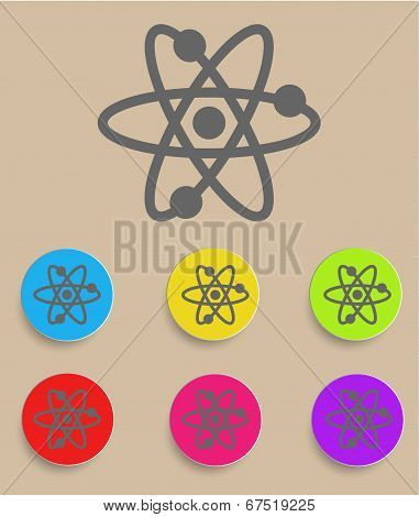 Atomic Symbol Icon Vector with Color Variations