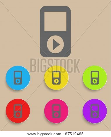 Portable musical player with color variations, vector