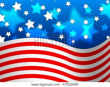 Amercian Flag Background Means Stripes And Stars.
