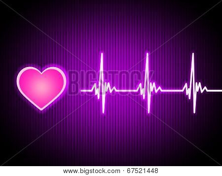 Purple Heart Background Shows Living Cardiac And Health.