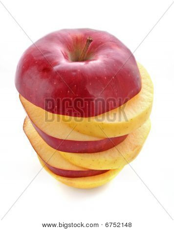 Sliced Mixed Fruit Isolated On White Close Up
