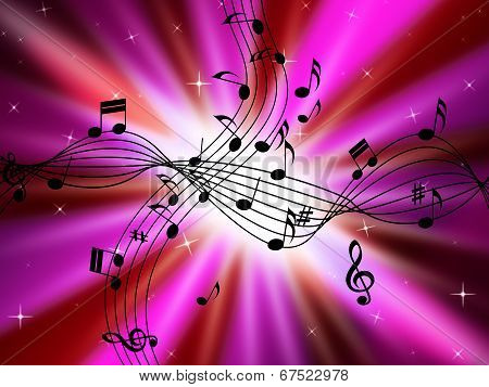 Pink Music Background Shows Musical Instruments And Brightness.