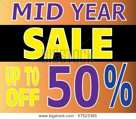 Mid Year Sale Up To 50 Percents Promotion Label