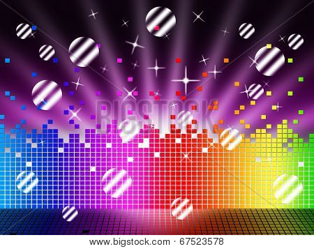 Soundwaves Background Means Songs Stars And Striped Balls.
