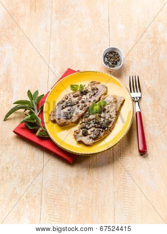 escalope marinated with mixed herbs