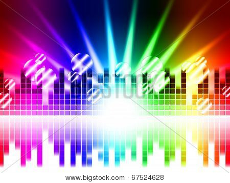 Bright Colors Background Means Rays Frequencies And Balls.