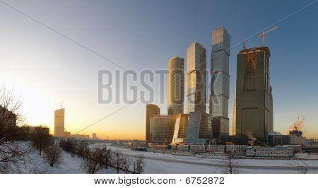 Moscow Business Center. Sunset. Panorama.