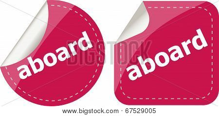 Aboard Word Stickers Set Icon Button Isolated On White