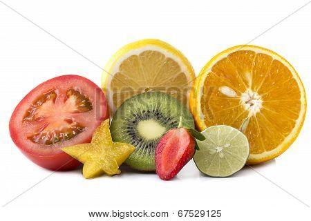 Assortment Of Exotic Fresh Fruits Sliced