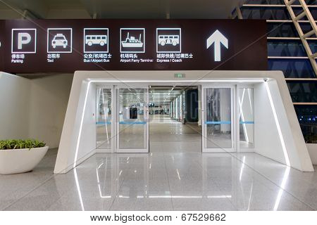 SHENZHEN - APRIL 17: airport interior on April 17, 2014 in Shenzhen, China. Shenzhen Bao'an International Airport is located near Huangtian and Fuyong villages in Bao'an District, Shenzhen, Guangdong