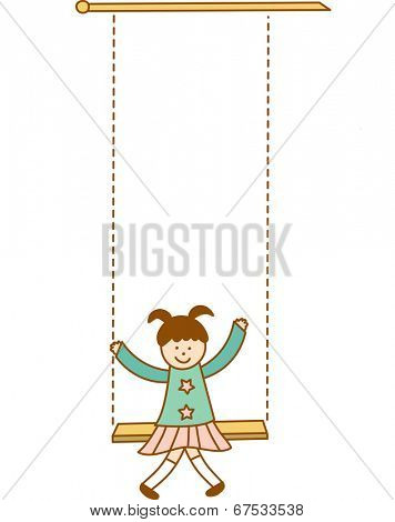 The view of girl on swing
