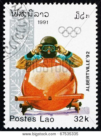 Postage Stamp Laos 1991 Bobsled, Winter Sport