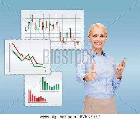 business, technology, internet and education concept - friendly young smiling businesswoman with smartphone showing thumbs up
