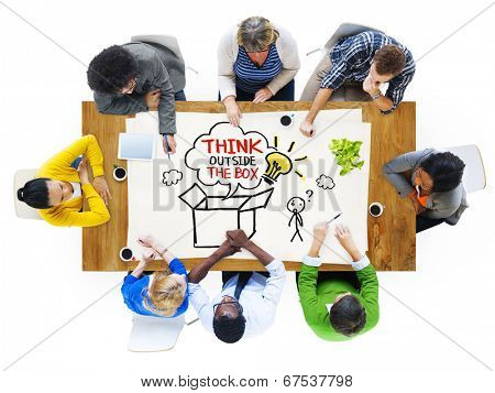 People in a Meeting and Thinking Outside the Box Sayings