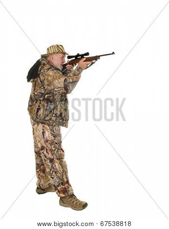 Older hunter with raised rifle about to shoot game, isolated on white with copy space