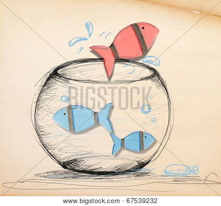 Fish Escaping from Fishbowl